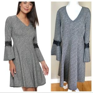 w/TAG New ELLE LACE trim Fit & Flare Gray DRESS